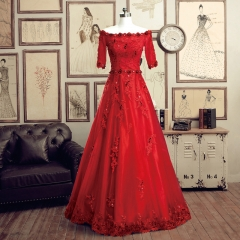 Red short-sleeved bride wedding toast bridesmaid dinner party stage stage long section red  long section s