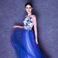 Fibers Dai brand word collar embroidery gauze sexy perspective dress drak blue s