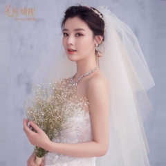 The new bride veil Korean simple single-layer simple and short paragraph wedding white veil white all code