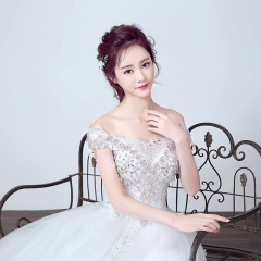 2016 autumn and winter bride retro lace word shoulder red diamond dress Korean wedding dress white qi s