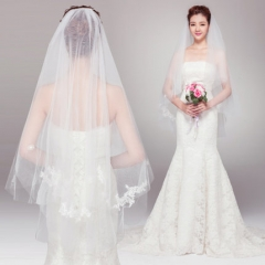 White beautiful lace double hooded bride wedding wedding veil white all code