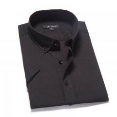Short Sleeve Black Men Shirt Casual Cotton Shirt Men Shirt black s
