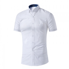 White short sleeve male shirt casual floral print men's men's shirt white s