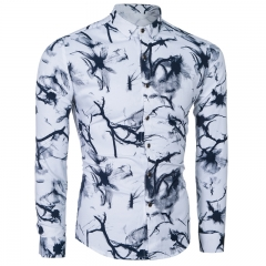 Cotton men 's fashion ink painting Slim long - sleeved shirt black m