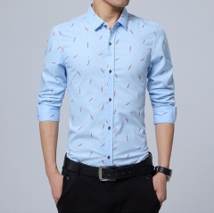 Trendy men's long-sleeved shirt 5-color men's long-sleeved shirt light blue m