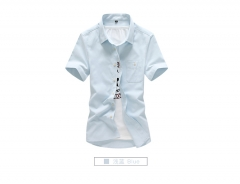 Men's simple casual men's Korean tide men's wild color shirt tide light blue m