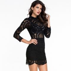 Summer long sleeves high collar hook flowers hollow asymmetrical skirt lace package hip dress black S