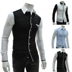 Men fight casual long-sleeved shirt black m