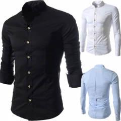 Casual small collar collar long sleeves shirt Slim long sleeves black m