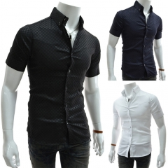 Obscure lattice Men's Slim Short Sleeve Shirt black M