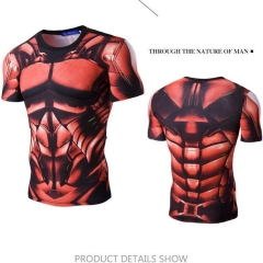 Men 's casual digital printing elastic quick - drying short - sleeved T - shirt red M