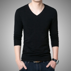 Pure color cotton long-sleeved V-neck tight t-shirt Korean version of Slim shirt black M