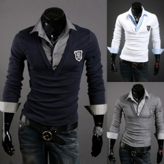 The new men's armbands trend of long-sleeved T-shirt Slim t-shirt black M