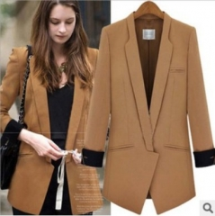 2017 autumn new large women's long sleeved suit fashion stitching small suit women's coat Camel S