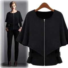 2017 autumn dress new style slim women's suit small shawl suit black S