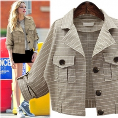 In the autumn of 2017 new fat MM code solid thin plaid coat lapel cardigan apricot XL