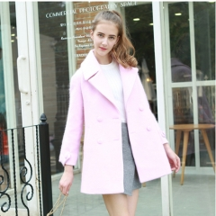 2017 autumn and winter new solid color in the long section of loose thin double-breasted woolen coat pink S