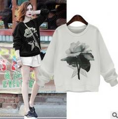 2017 spring new ink printing loose loose shirt shirt women's long-sleeved sweater black S