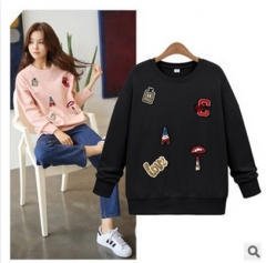 2017 autumn and winter new long-sleeved handmade beads decals fashionable loose clothing sweater black S