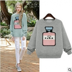 2017 winter new perfume bottle decals loose loose fleece thick cotton wild sweater green S