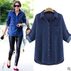 2017 spring blue fat MM loose thin cotton denim shirt navy blue XL