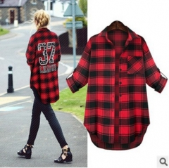2017 spring new long paragraph casual loose polished plaid long-sleeved shirt red XL