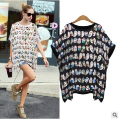 2017 summer new fashion loose loose bat sleeves T-shirt round neck prints Slim black S