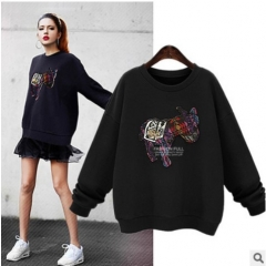 2017 spring new plus velvet thick paste T-shirt T-shirt long-sleeved women's sweater black S