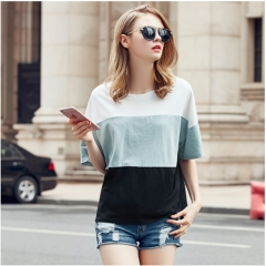 2017 summer new fashion fat MM large size loose thin stitching short-sleeved round neck T-shirt white XL