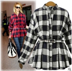 2017 early spring new plaid long sleeves Slim shirt shirt shirt wild black S