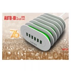 LDNIO A6702 CE RoHS 7A 6-port Wall Travel Charger for Samsung iPhone Huawei Etc white 7A 6-port