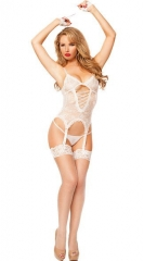 4 colors high quality temptation transparent lace nightgown garters sexy sleepwear white free size
