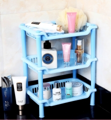 Multifunction Bathroom Shelves Kitchen Storage Rack Square Bathroom Desktop Makeup Storage Rack Blue as picture