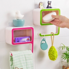 Home Bathroom Storage Rack Holder Wall Mount Suction Cup 1 PCS Blue as picture