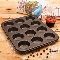 Large size 12 Cups Iron Non-stick cake baking tray Mini Metal Muffin Pan Cake DIY Tool Black Media