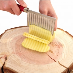 Potato Chip Dough Vegetable Crinkle Wavy Cutter Slicer Fruits Knife Food Stainless Steel silver as picture