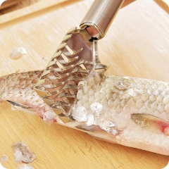 Practical Cleaning Fish Skin Steel Brush Shaver Remover Cleaner Descaler Skinner Scaler Kitchen Tool silver as picture