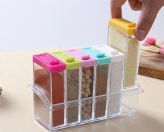 6pcs Spice Storage Sets Transparent PP Colorful Lid Transparent as picture