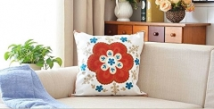 Homely Cotton Handmade Embroidered Throw Pillow With Insert on sofa Random Color 18x18 Inch