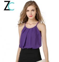 Sexy lace large size chiffon shirt wild skinny double thin basement straps vest purple S