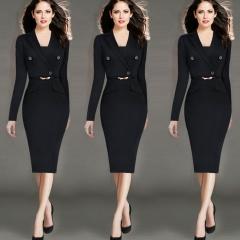 2017 Hot New Europe  foreign trade women's dress business wear Black s