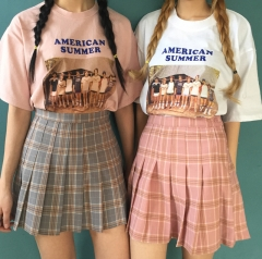 School high waisted pleated Plaid sweet wind skirt  A-word skirt pink s/m