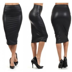 NEW FASHION All-match OL leather bag hip skirt black 3xl