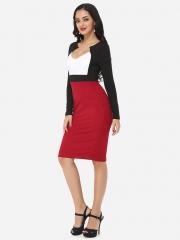 ZINC Sexy Elegant Deep V Collar Fashion Dress OL Dress white+red s