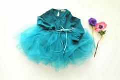 New Cutton Flower Girl Dress WithSleeves Tutu Clothes dark green 140