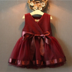 Lovely Princess Dress Birthday  Christmas Little Girl Ball Gown dark red 100