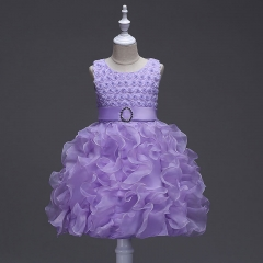 Lovely Ruffle Handmade Flowers Kids Tutus Girl Dress Purple 100