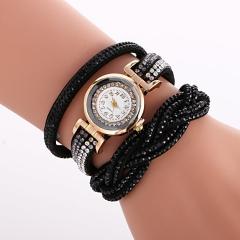 New Rhinestone Watches Women Dress Fashion Casual Bracelet Quartz Analog Watch black