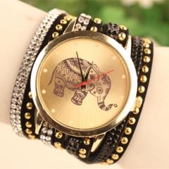 New Elephant Women Watches Bracelet Quartz Analog Lady Watch black