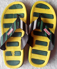 Yellow and green striped men's slippers